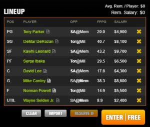 nba draft kings 4-27-2017