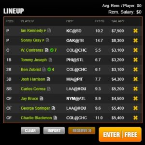 mlb draft kings early 6-10-2017