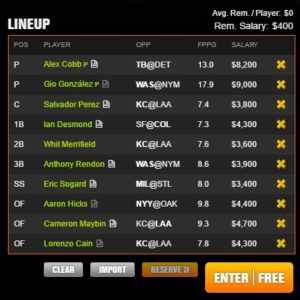 mlb draft kings late 6-15-2017