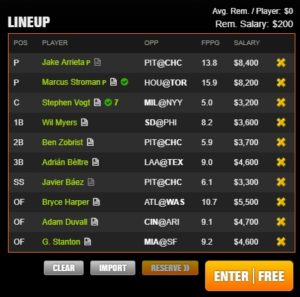 mlb draft kings all day 7-8-2017