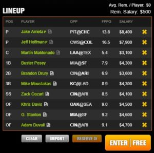 mlb draft kings night 7-8-2017